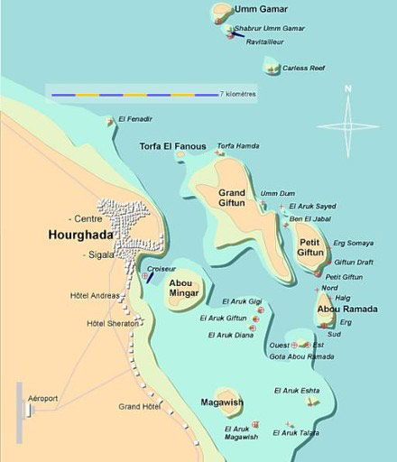 Hurghada - Map of egypt hotels